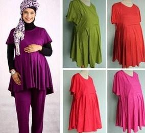 Trend Model Busana Baju Hamil Muslim Paling Baru 6 - Atasan Bahan Adem untuk Ibu Hamil Oke