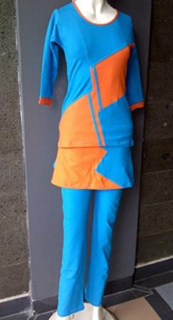 Gambar Model Pakaian Senam Terbaru dan Oke 3 - untuk Muslimah Panjang biru
