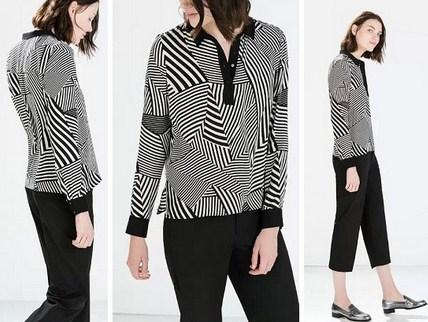 Model Baju Zara Original Terbaru untuk Tampil Oke 2 - Zara Black White Stripe Shirt