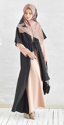 Model Baju Muslim Terbaik Kombinasi 2 warna yang Bakal Booming Tahun 2019 1440 H - 1