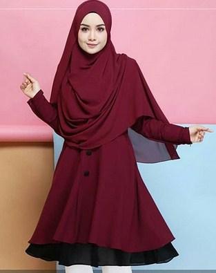 Model Busana Muslim Terbaik Kombinasi 2 warna yang Bakal Booming Tahun 2019 1440 H - 2