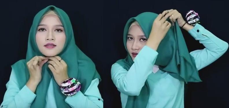 Model jilbab tutorial buat pemula untuk sehari-hari - 1 dan 2