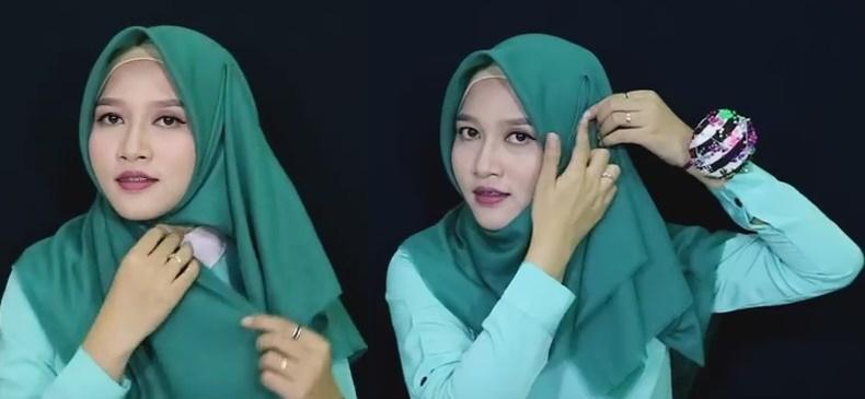 Model jilbab tutorial buat pemula untuk sehari-hari - 3 dan 4
